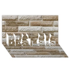LIGHT BRICK WALL BEST SIS 3D Greeting Card (8x4)