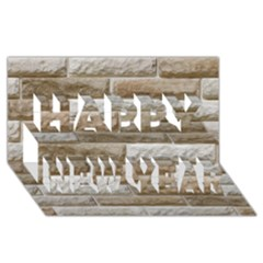 LIGHT BRICK WALL Happy New Year 3D Greeting Card (8x4)