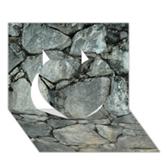 Grey Stone Pile Heart 3d Greeting Card (7x5)