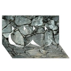 GREY STONE PILE Twin Hearts 3D Greeting Card (8x4)