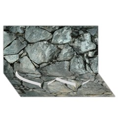 Grey Stone Pile Twin Heart Bottom 3d Greeting Card (8x4)