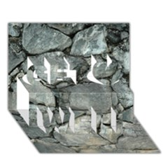 GREY STONE PILE Get Well 3D Greeting Card (7x5)