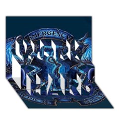 Ems Blue WORK HARD 3D Greeting Card (7x5)
