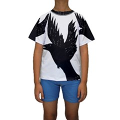 Hovering crow Kid s Short Sleeve Swimwear