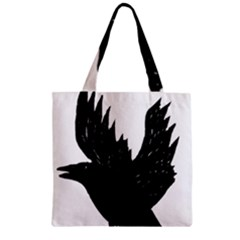 Hovering crow Zipper Grocery Tote Bags