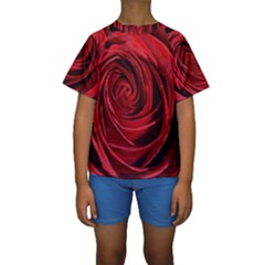 Beautifully Red Kid s Short Sleeve Swimwear