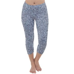 Granite Blue Grey Capri Winter Leggings
