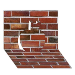 COLORFUL BRICK WALL Apple 3D Greeting Card (7x5)