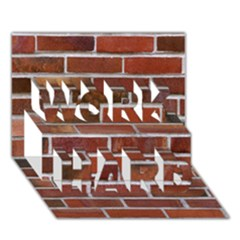 COLORFUL BRICK WALL WORK HARD 3D Greeting Card (7x5)
