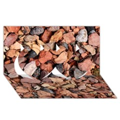 Colored Rocks Twin Hearts 3d Greeting Card (8x4)