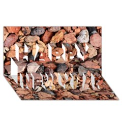 COLORED ROCKS Happy New Year 3D Greeting Card (8x4)