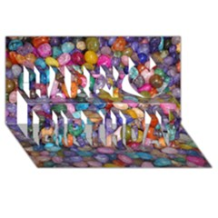 COLORED PEBBLES Happy Birthday 3D Greeting Card (8x4)