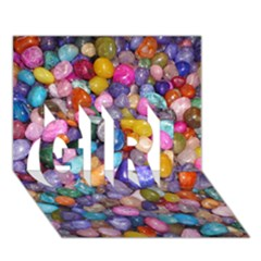 COLORED PEBBLES GIRL 3D Greeting Card (7x5)