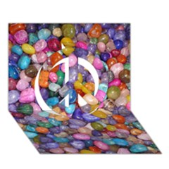 COLORED PEBBLES Peace Sign 3D Greeting Card (7x5)