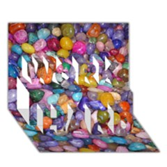 Colored Pebbles Work Hard 3d Greeting Card (7x5)