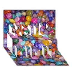 COLORED PEBBLES You Did It 3D Greeting Card (7x5)