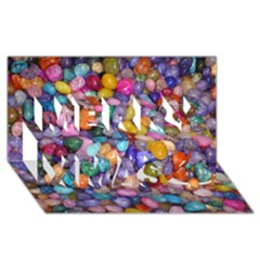 Colored Pebbles Merry Xmas 3d Greeting Card (8x4)