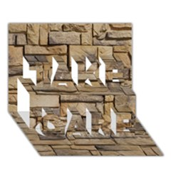BLOCK WALL 1 TAKE CARE 3D Greeting Card (7x5)