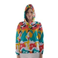 Cubist Art Hooded Wind Breaker (women)