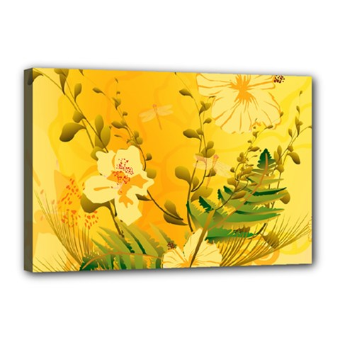 Wonderful Soft Yellow Flowers With Dragonflies Canvas 18  x 12