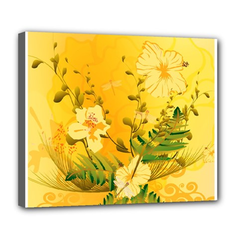 Wonderful Soft Yellow Flowers With Dragonflies Deluxe Canvas 24  x 20