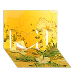 Wonderful Soft Yellow Flowers With Dragonflies I Love You 3D Greeting Card (7x5)