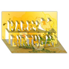 Wonderful Soft Yellow Flowers With Dragonflies Happy Birthday 3d Greeting Card (8x4)
