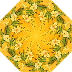 Wonderful Soft Yellow Flowers With Dragonflies Hook Handle Umbrellas (Large)