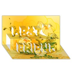 Wonderful Soft Yellow Flowers With Dragonflies Best Friends 3D Greeting Card (8x4)