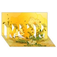 Wonderful Soft Yellow Flowers With Dragonflies MOM 3D Greeting Card (8x4)