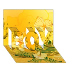 Wonderful Soft Yellow Flowers With Dragonflies BOY 3D Greeting Card (7x5)