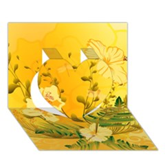 Wonderful Soft Yellow Flowers With Dragonflies Heart 3d Greeting Card (7x5)