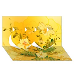 Wonderful Soft Yellow Flowers With Dragonflies Twin Hearts 3d Greeting Card (8x4)