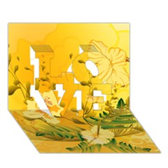 Wonderful Soft Yellow Flowers With Dragonflies Love 3d Greeting Card (7x5)