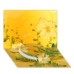 Wonderful Soft Yellow Flowers With Dragonflies Circle Bottom 3D Greeting Card (7x5)