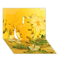 Wonderful Soft Yellow Flowers With Dragonflies Apple 3d Greeting Card (7x5)