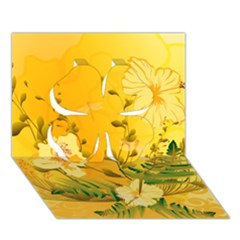 Wonderful Soft Yellow Flowers With Dragonflies Clover 3d Greeting Card (7x5)