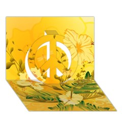 Wonderful Soft Yellow Flowers With Dragonflies Peace Sign 3D Greeting Card (7x5)
