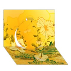 Wonderful Soft Yellow Flowers With Dragonflies Circle 3D Greeting Card (7x5)