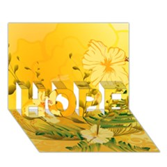 Wonderful Soft Yellow Flowers With Dragonflies HOPE 3D Greeting Card (7x5)
