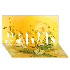Wonderful Soft Yellow Flowers With Dragonflies #1 Dad 3d Greeting Card (8x4)