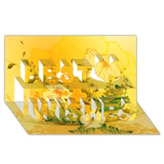 Wonderful Soft Yellow Flowers With Dragonflies Best Wish 3D Greeting Card (8x4)