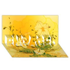 Wonderful Soft Yellow Flowers With Dragonflies Engaged 3d Greeting Card (8x4)