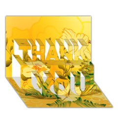 Wonderful Soft Yellow Flowers With Dragonflies THANK YOU 3D Greeting Card (7x5)