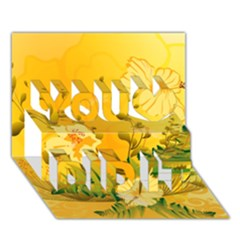 Wonderful Soft Yellow Flowers With Dragonflies You Did It 3d Greeting Card (7x5)