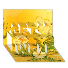 Wonderful Soft Yellow Flowers With Dragonflies Get Well 3d Greeting Card (7x5)