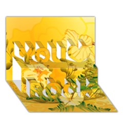 Wonderful Soft Yellow Flowers With Dragonflies You Rock 3D Greeting Card (7x5)