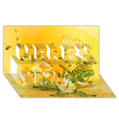 Wonderful Soft Yellow Flowers With Dragonflies Merry Xmas 3d Greeting Card (8x4)