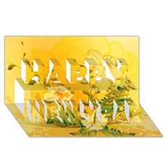 Wonderful Soft Yellow Flowers With Dragonflies Happy New Year 3D Greeting Card (8x4)