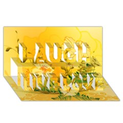 Wonderful Soft Yellow Flowers With Dragonflies Laugh Live Love 3d Greeting Card (8x4)